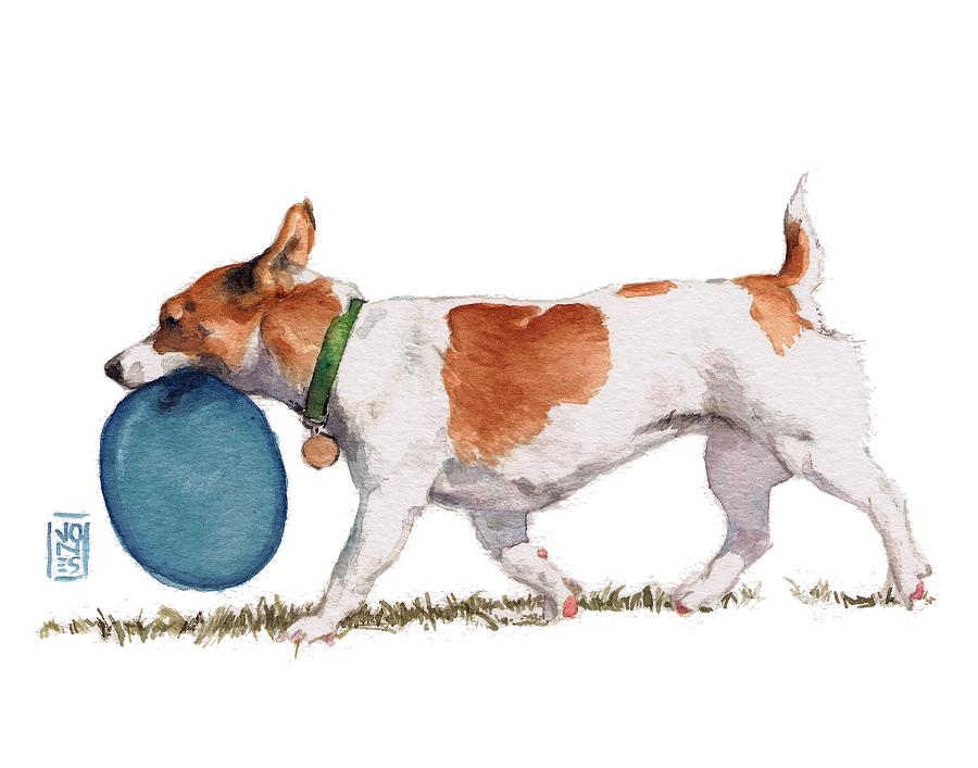 Dog Part Art Painting - Little Dog With Blue Frisbee by Debra Jones