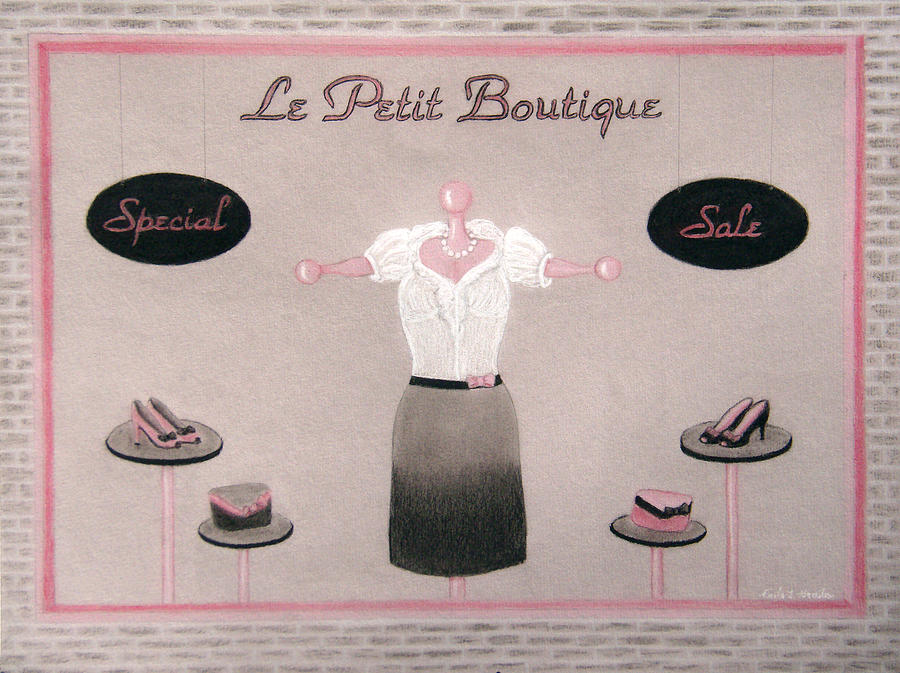Dress Drawing - Little Dress Shop by Nicole I Hamilton