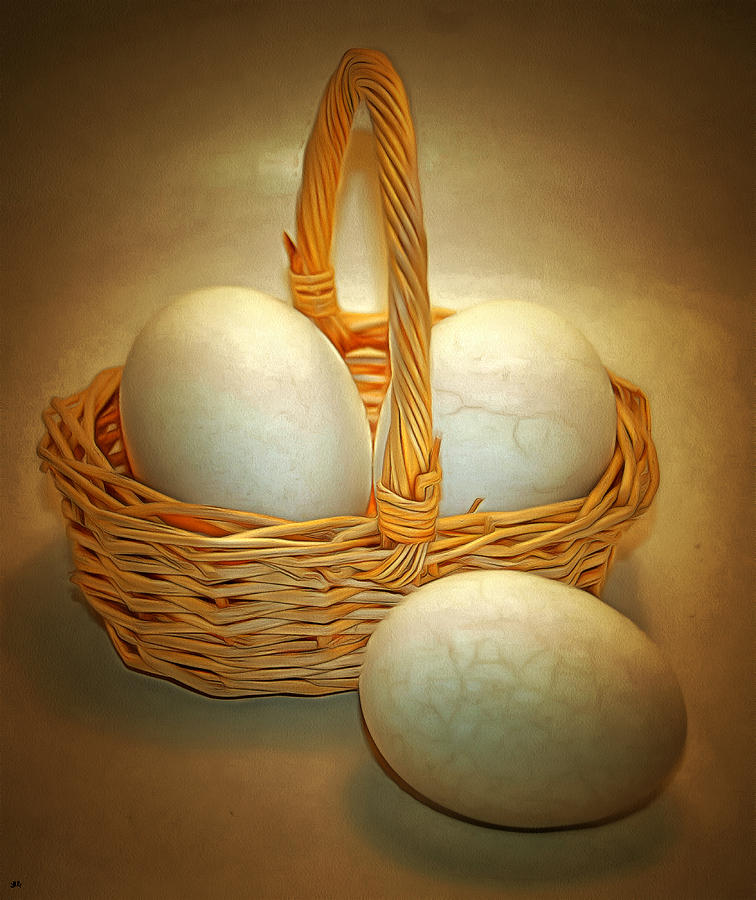 Eggs Photograph - Little Egg Basket II by Linda Koelbel