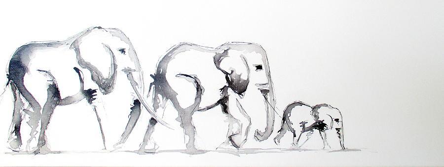 Elephant family drawing
