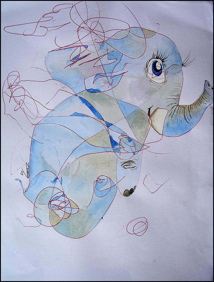 Infantile Painting - Little Elephant by Paulo Zerbato
