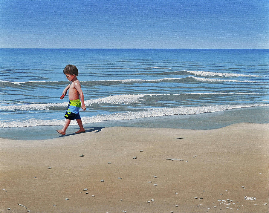Beach Painting - Little Explorer by Kenneth M  Kirsch