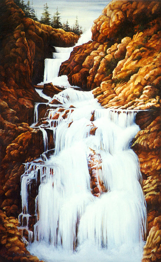 Waterfall Painting - Little Firehole Falls by Teri Rosario