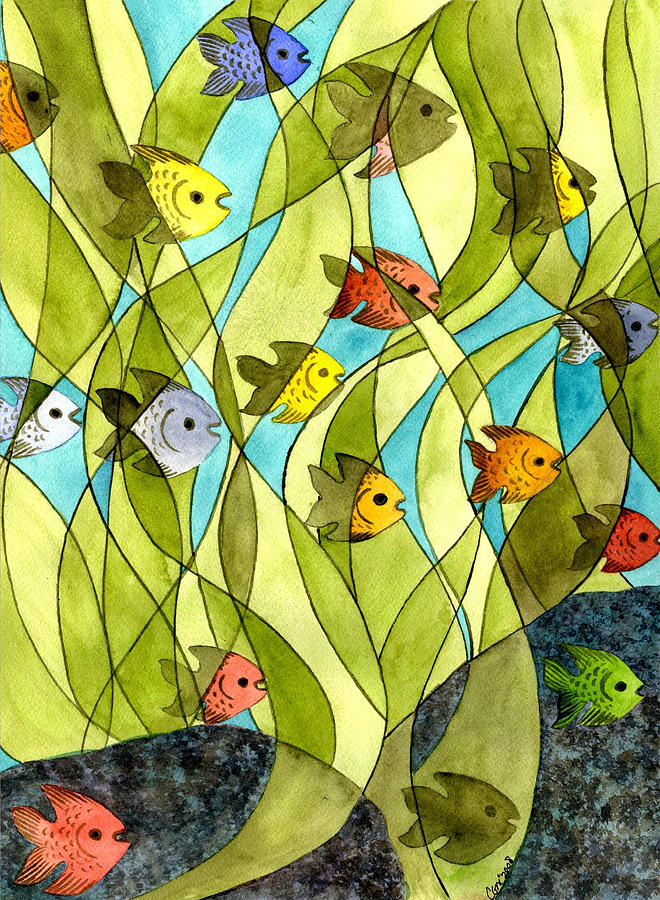 Fish Painting - Little Fish Big Pond by Catherine G McElroy