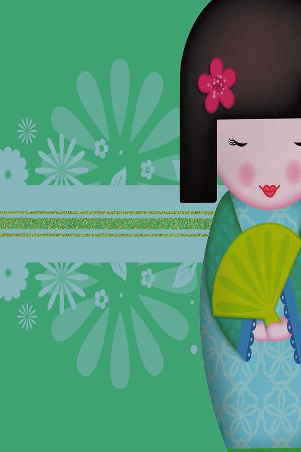 Vintage Digital Art - Little Geisha Blue by Jannina Ortiz