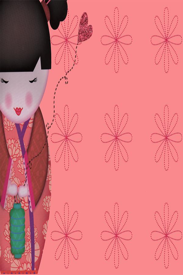 Vintage Digital Art - Little Geisha Pink by Jannina Ortiz