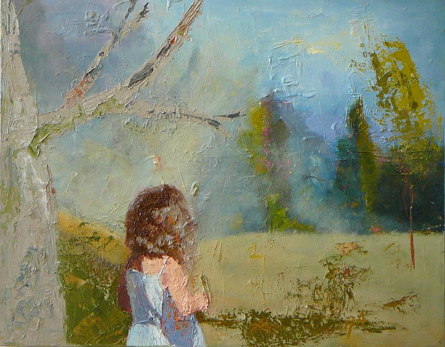 Landscape Painting - sold Little Girl and the Wood by Irena  Jablonski