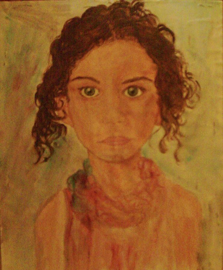 Little Girl All Dressed Up Painting - Little Girl by Helen Vanterpool