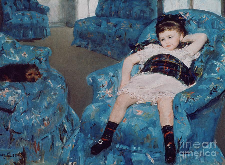 Cassatt Painting - Little Girl In A Blue Armchair by Mary Stevenson Cassatt