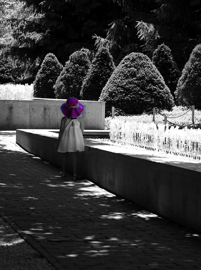 Selective Color Photograph - Little Girl In Magenta Hat Black And White Selective Color by Colleen Cornelius