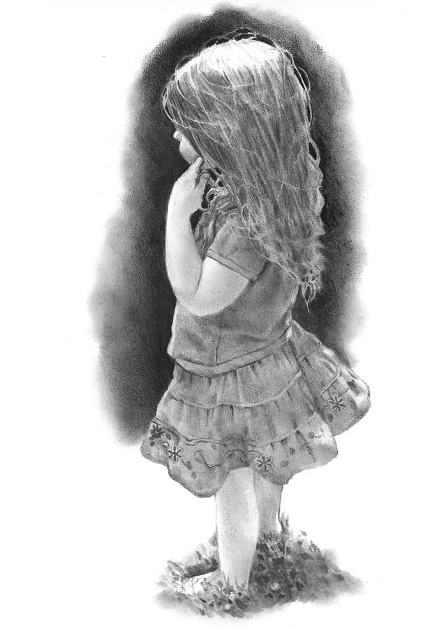 Girl drawing little girl by joyce geleynse