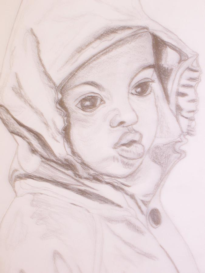 Little Girl Mac Drawing by Sharon  Roberts
