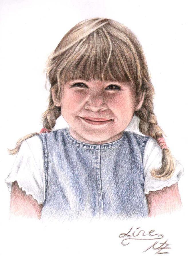 Girl Drawing - Little Girl by Nicole Zeug