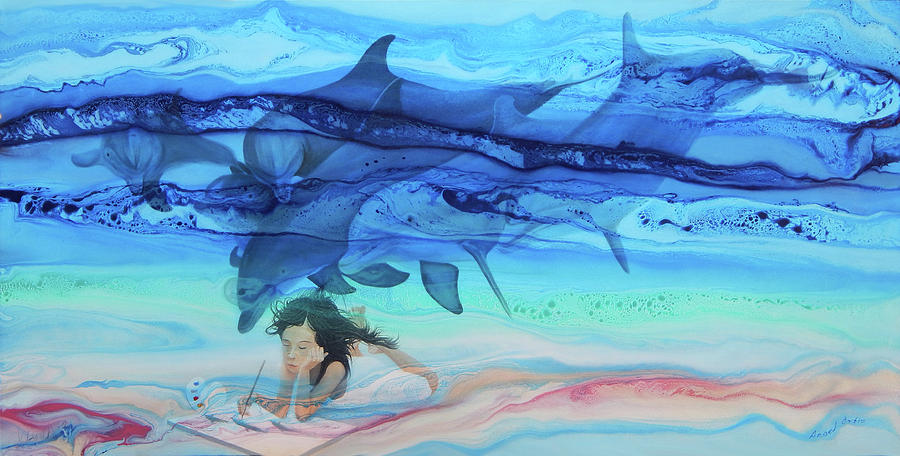Seascape Painting - Little Girl Painter by Angel Ortiz