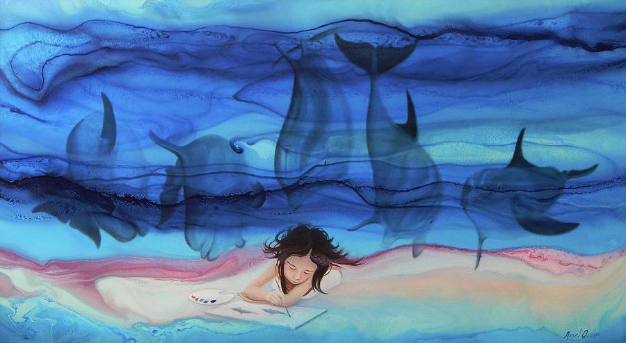 Angel Ortiz Painting - Little Girl Painter II by Angel Ortiz