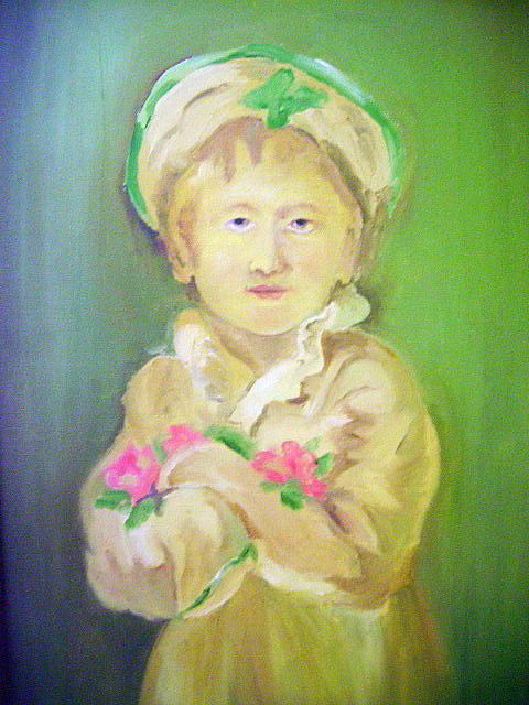 Girl Painting - Little Girl by Prashant Vasava