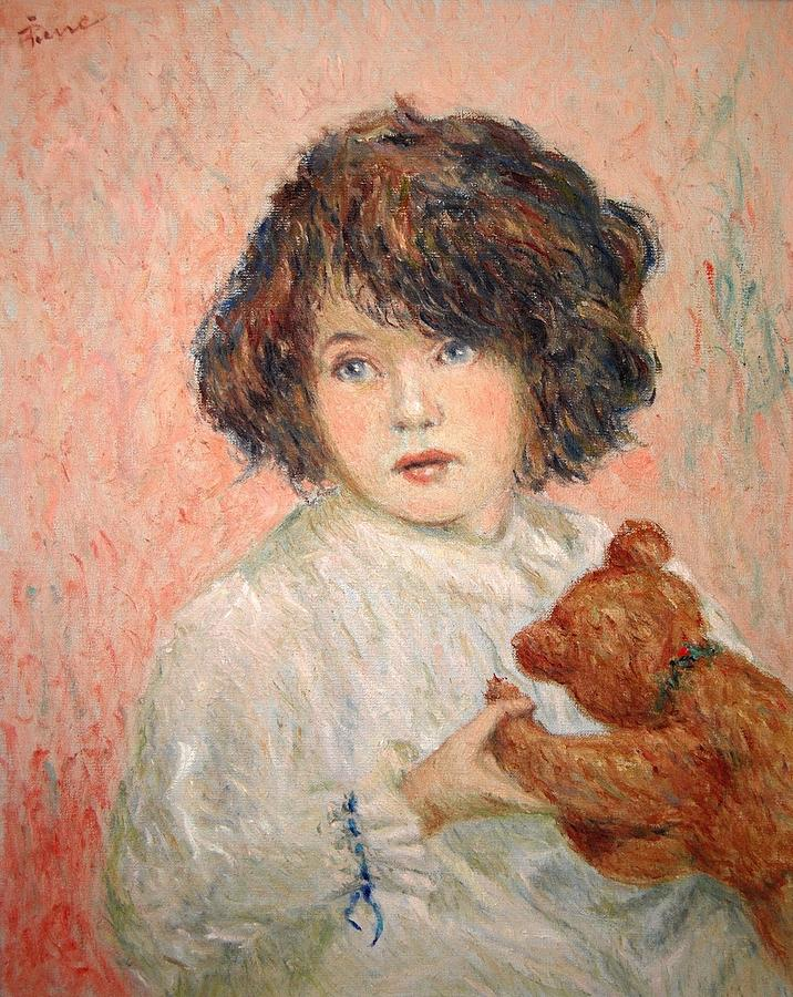 little girl with bear by Pierre Van Dijk