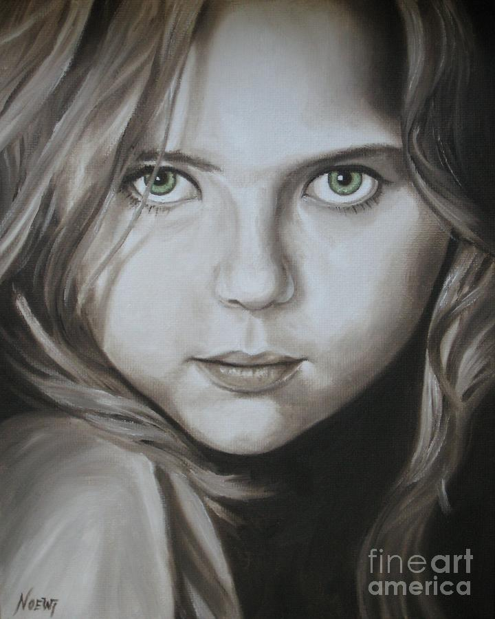 Portrait Painting - Little Girl With Green Eyes by Jindra Noewi