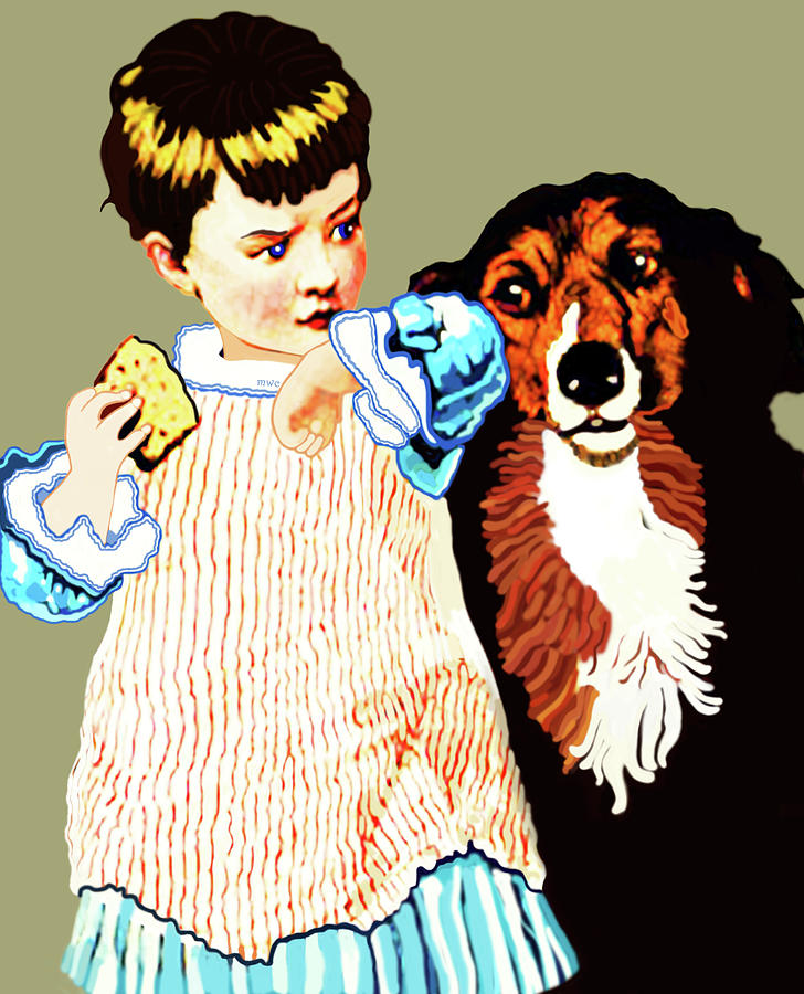 Little Girl With Hungry Mutt by Marian Cates