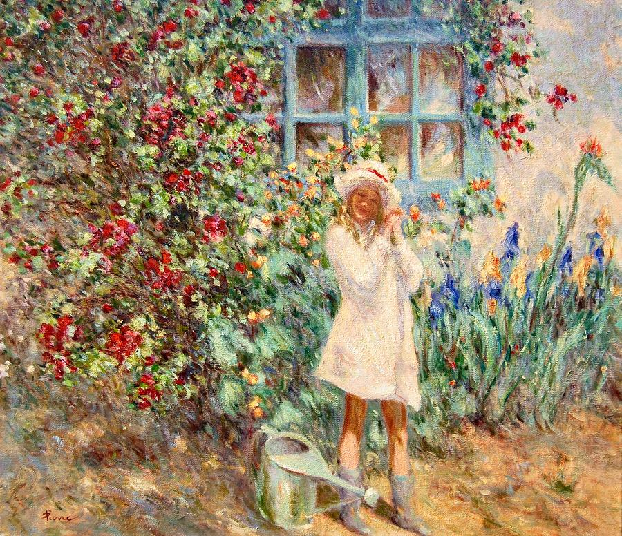 Little girl with roses  by Pierre Van Dijk
