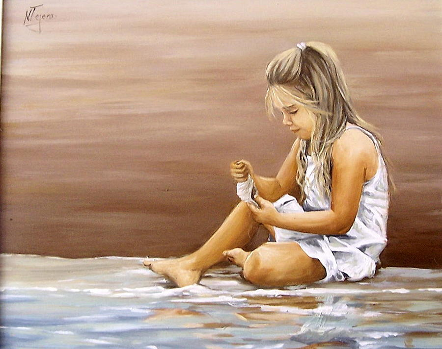 Little Girl With Sea Shell Painting by Natalia Tejera