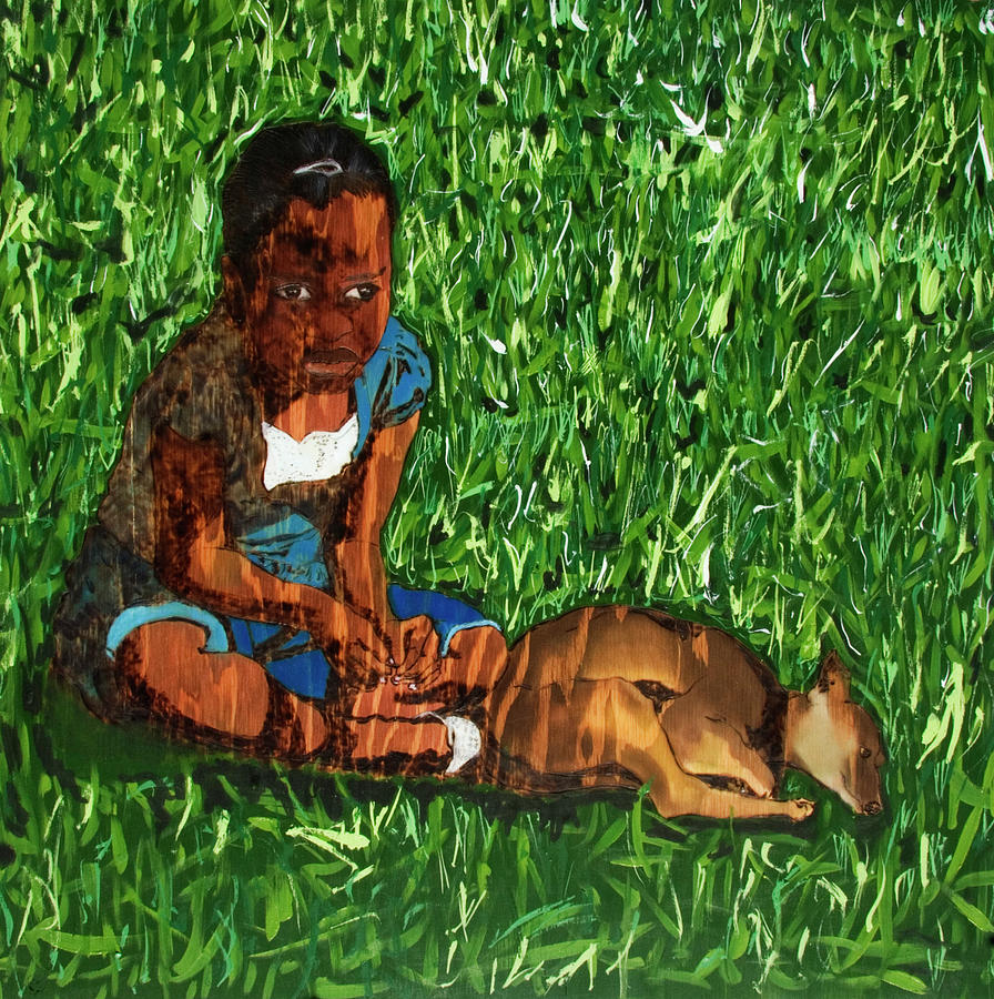 Little Girls And Dogs II Mixed Media by Warren Goodson
