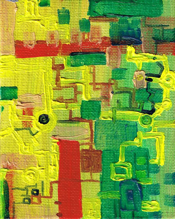 Miniature Painting - Little Green Machine by Regina Valluzzi