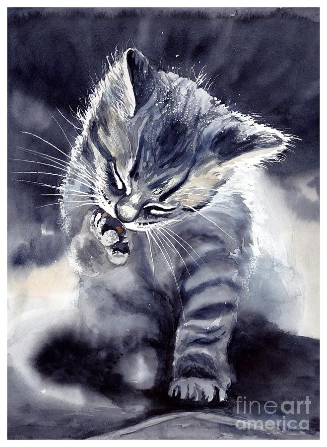 Little Painting - Little Grey Cat by Suzann Sines