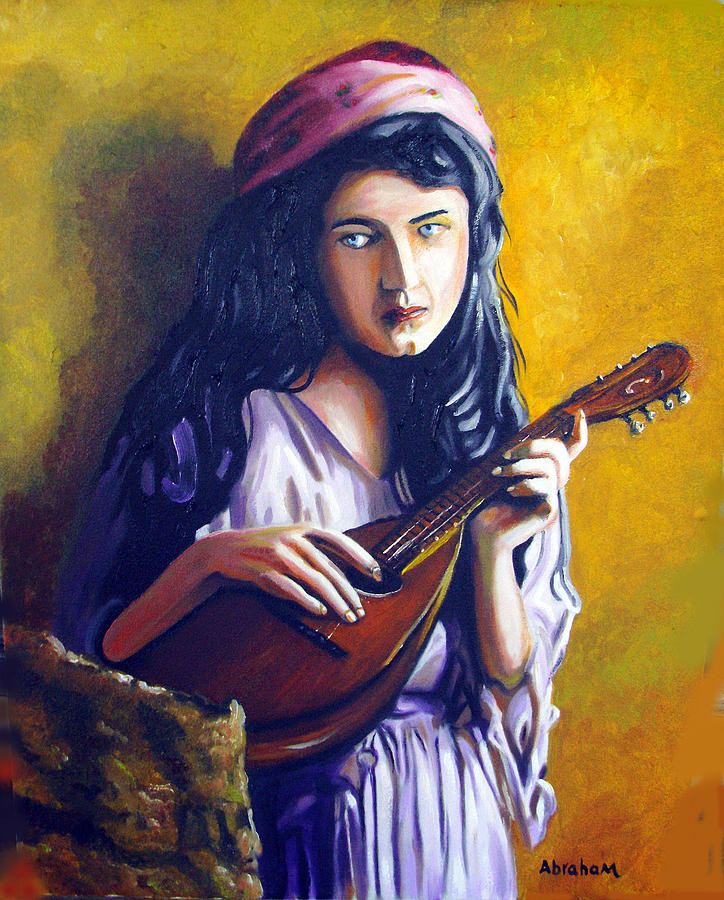 Oil Painting - Little Gypsy by Jose Manuel Abraham