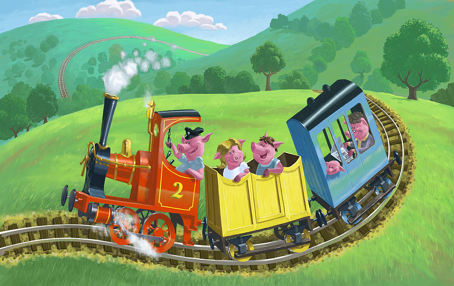 Animal Painting - Little Happy Pigs On Train Journey by Martin Davey