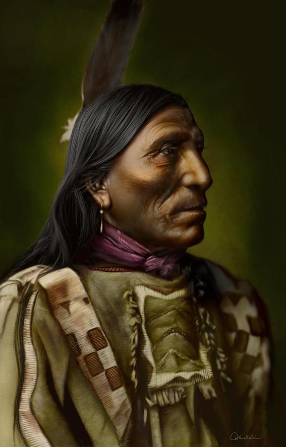 Native American Digital Art - Little Hawk - Brule by Helmut Weininger