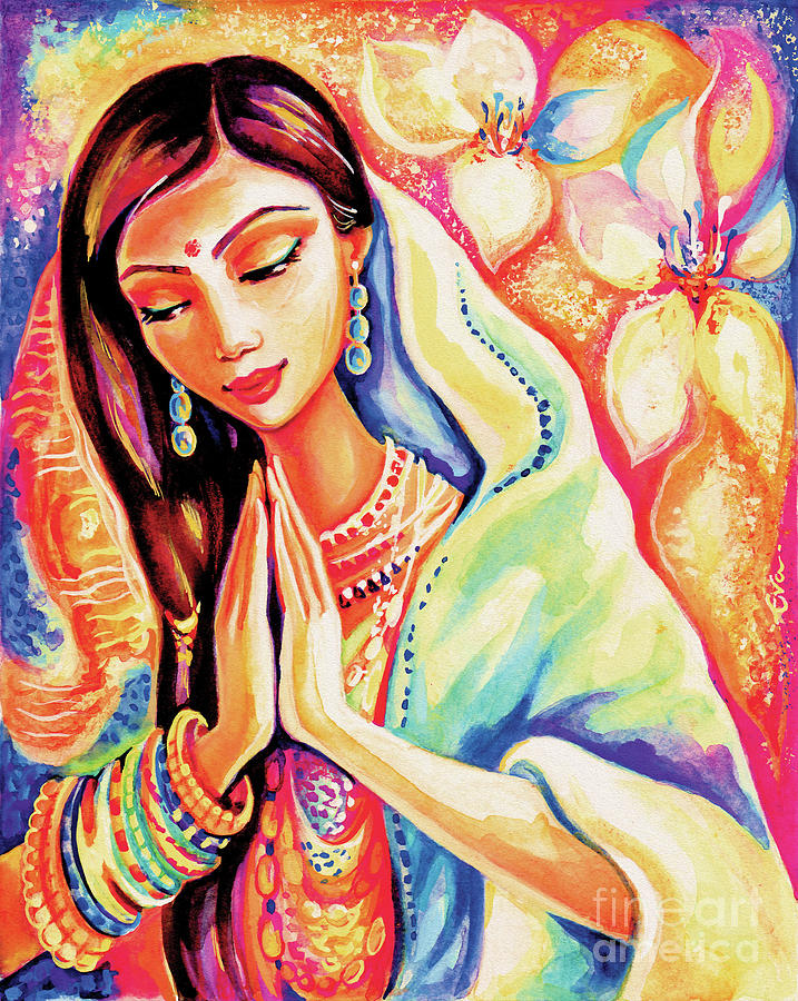 Beautiful Woman Painting - Little Himalayan Pray by Eva Campbell