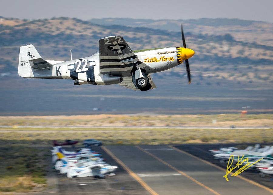 Little Pony Photograph - P51 Mustang Little Horse Gear Coming Up Friday At Reno Air Races 5x7 Aspect Signature Edition by John King