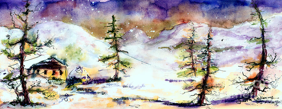Cabins Painting - Little House In The Mountains by Ginette Callaway