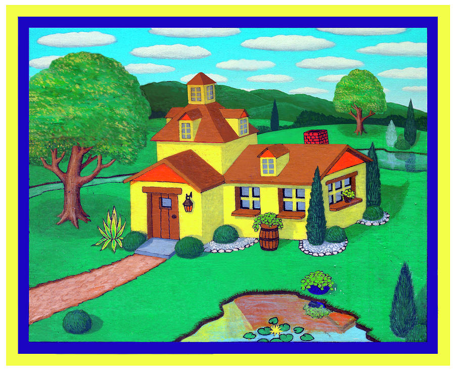 House Painting - Little House On The Green by Snake Jagger