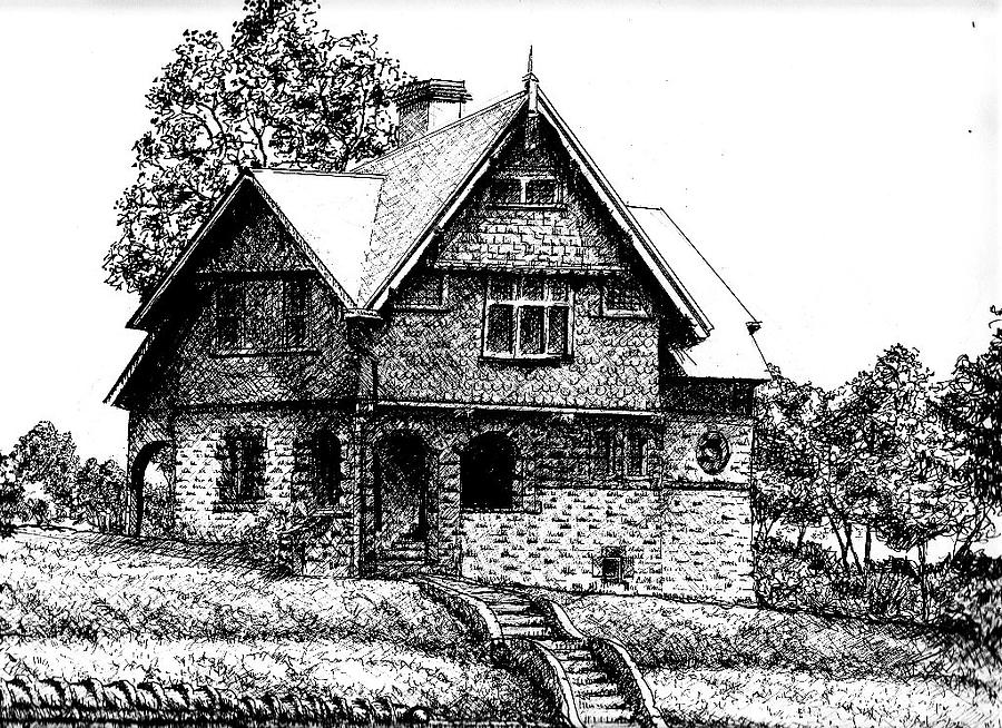 Arcitecture Drawing - Little House Out Back by Dan Mack