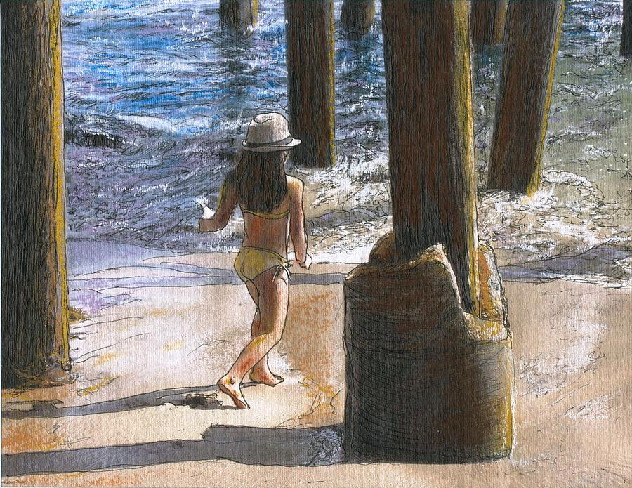 California Painting - Little Jessica And Her Hat Malibu Pier  by Randy Sprout