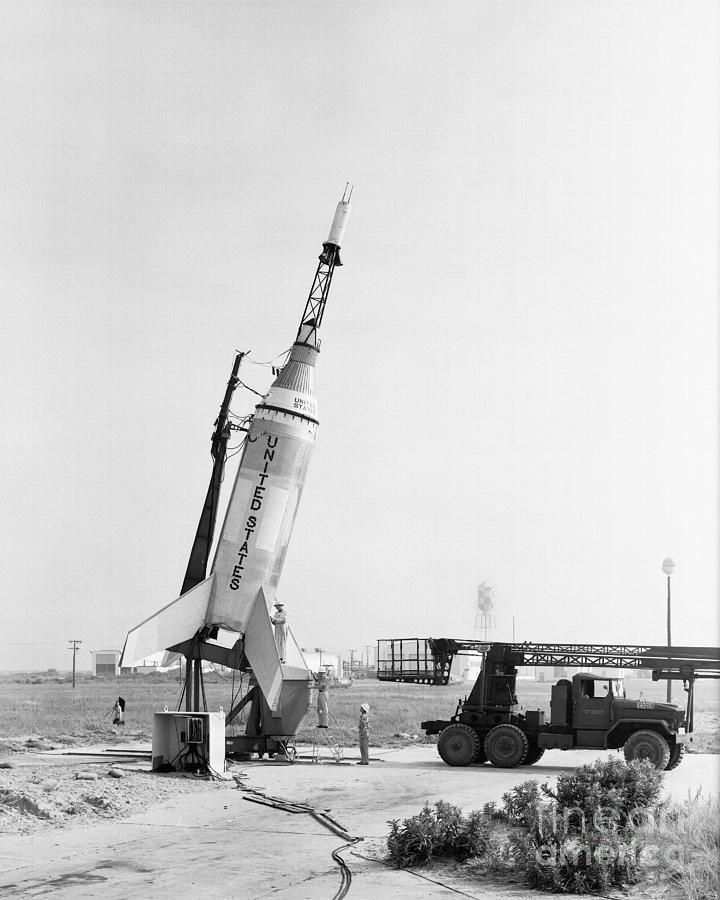 Mercury Photograph - Little Joe On Launcher At Wallops by Stocktrek Images