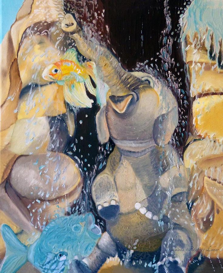 Elephant Painting - Little Jumbo by Luana-Beatrice Lazar