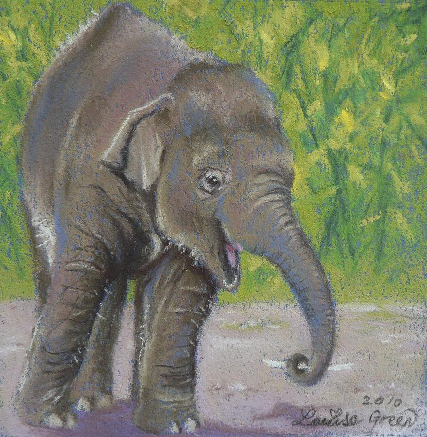 Baby Elephant Pastel - Little Luk Chai by Louise Green
