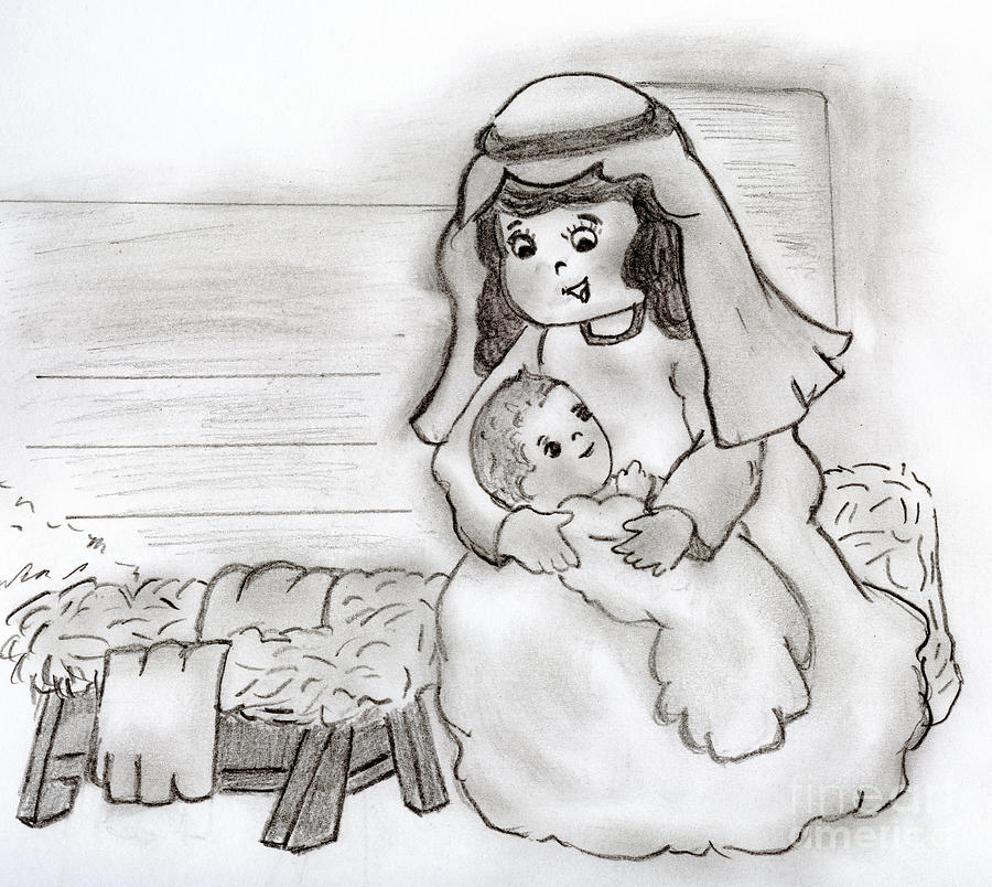Mary Drawing - Little Mary And Baby Jesus by Sonya Chalmers