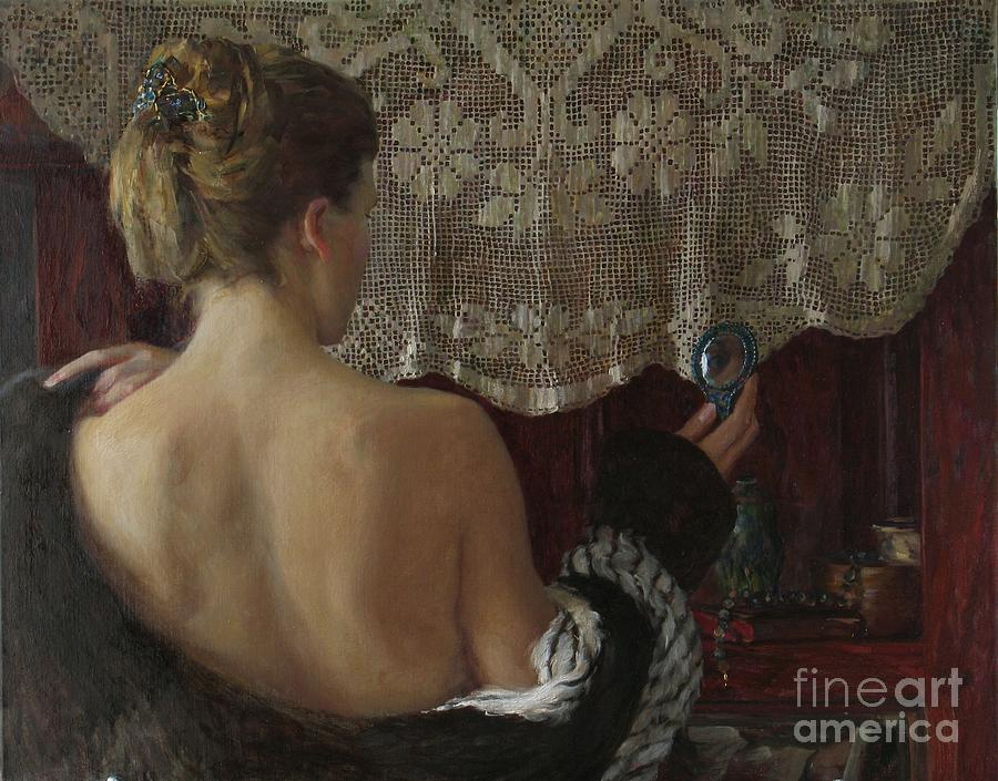 Nude Painting - Little Mirror by Korobkin Anatoly