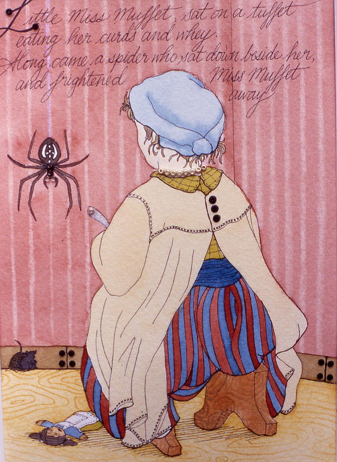 Little Miss Muffet Painting - Little Miss Muffet by Victoria Heryet