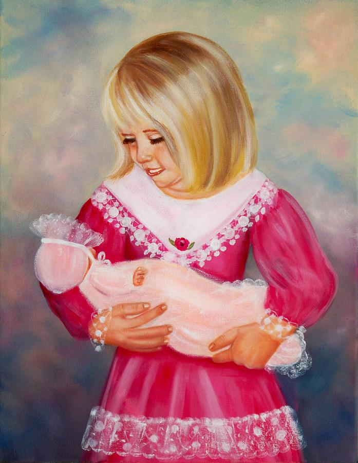 Child Painting - Little Mommy by Joni McPherson