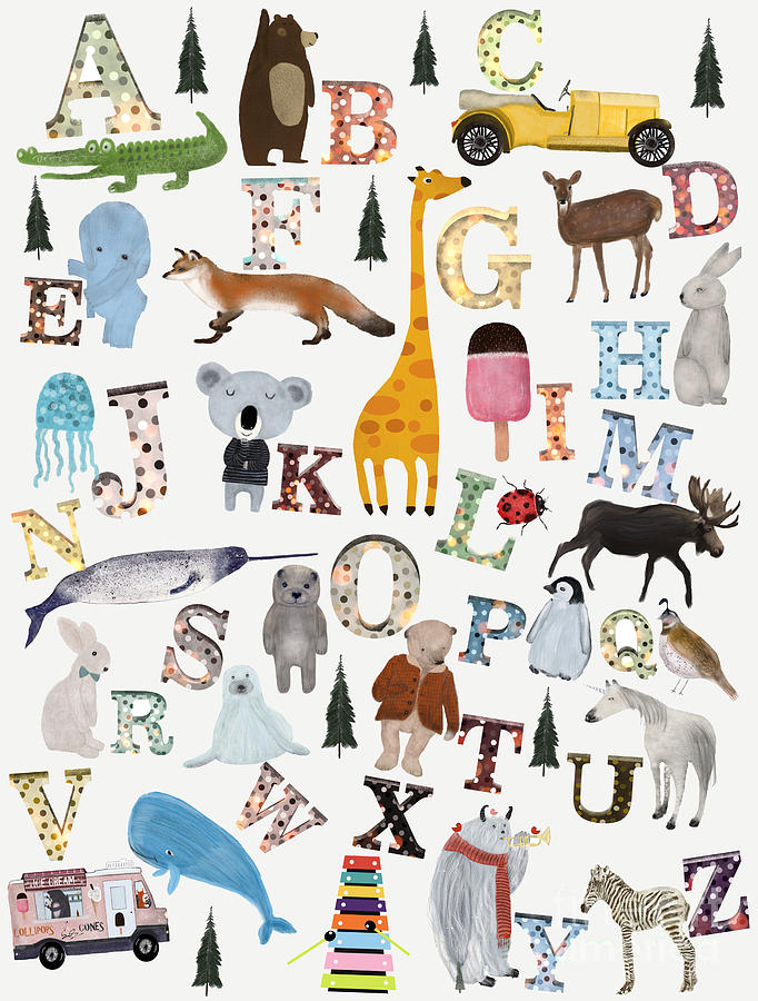 Animals Painting - Little Nature Alphabet by Bri Buckley