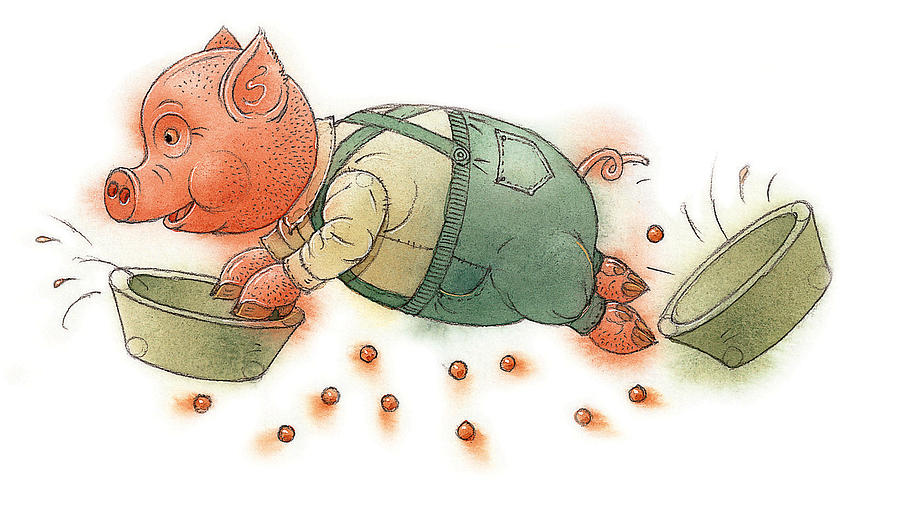 Little Pig Painting by Kestutis Kasparavicius