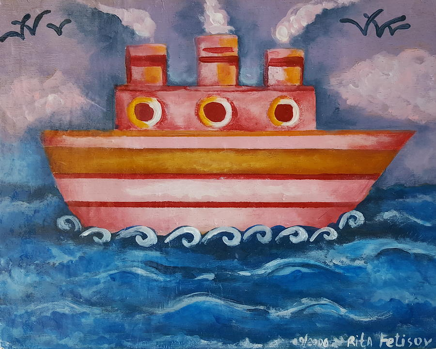 Ship Painting - Little Pink Ship by Rita Fetisov