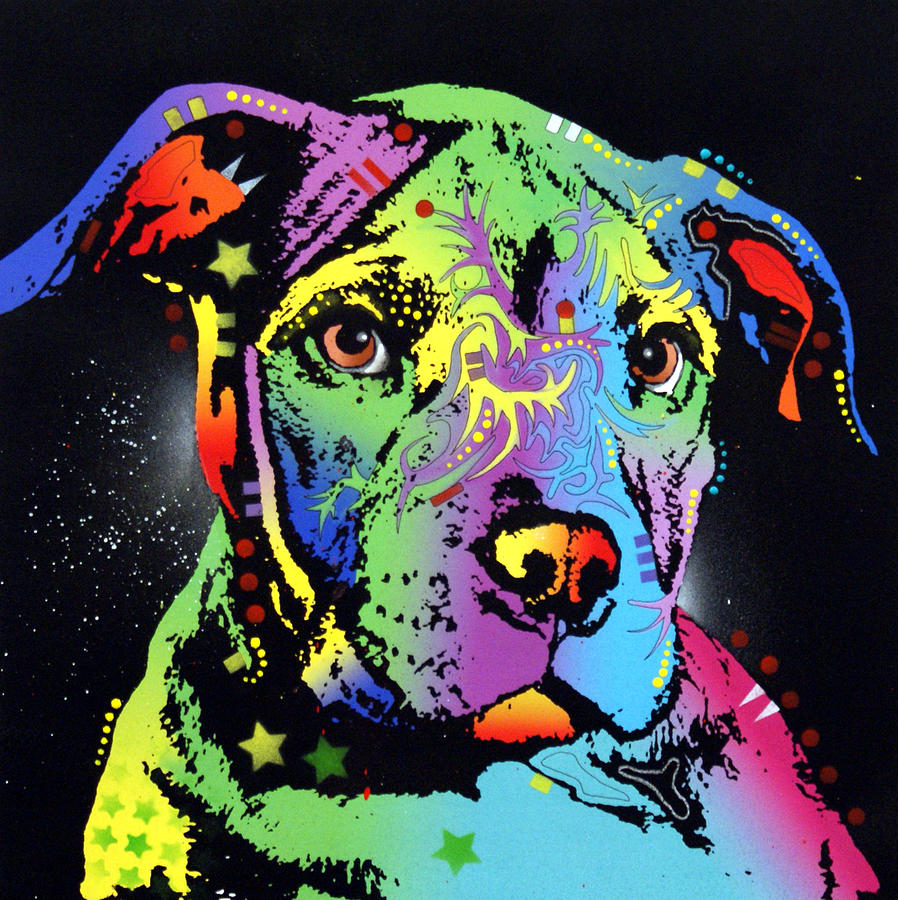 Dog Painting - Little Pittie Warrior by Dean Russo