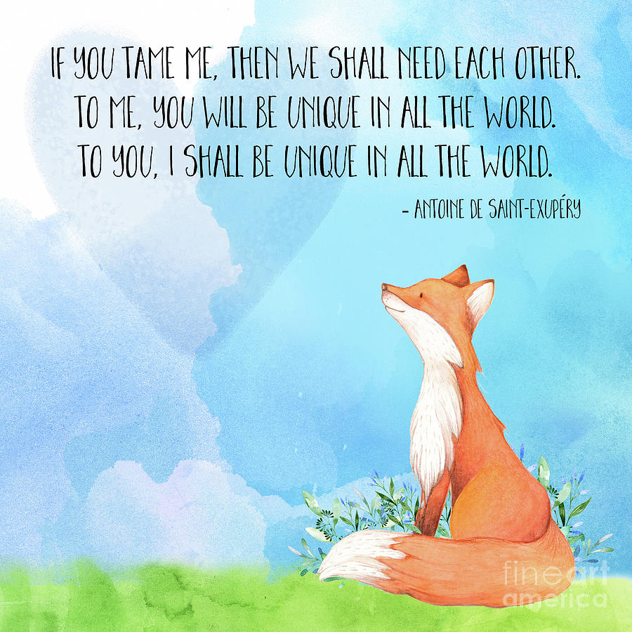 Little Prince Fox Quote Text Art Painting By Tina Lavoie