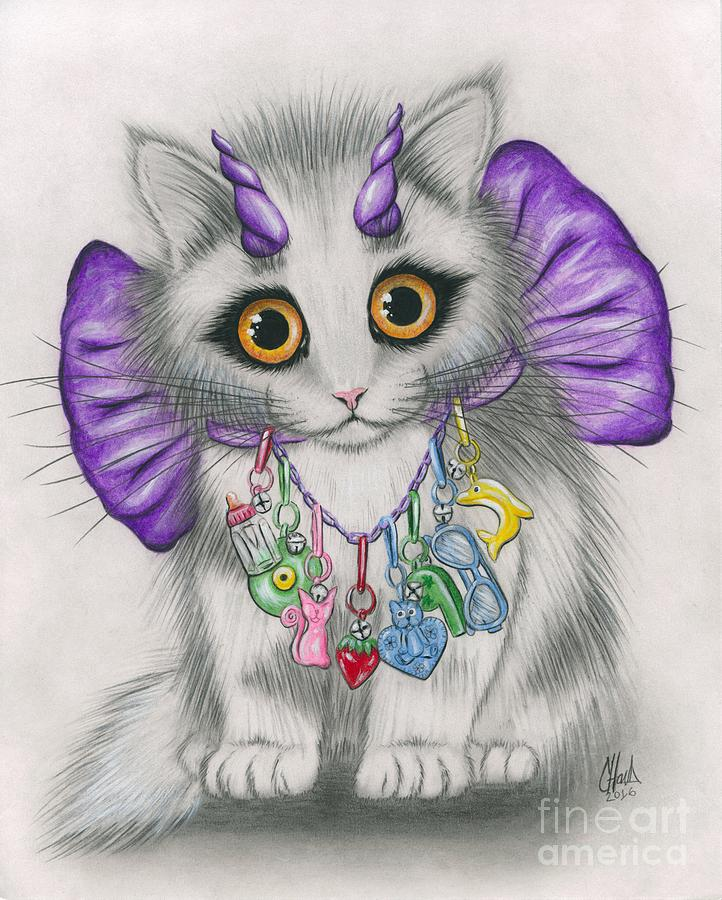 Little Purple Horns - 1980s Cute Devil Kitten by Carrie Hawks